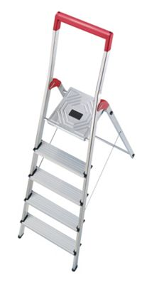 Hailo 281cm L50 Aluminium Safety Household Ladder with Red Fracture-Proof
