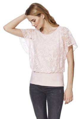 Roman Originals Floral Burnout Double Layer Top Pink 20