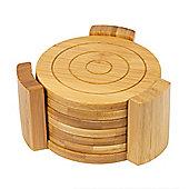 Woodluv 6 X Bamboo Round Coaster Set- Natural