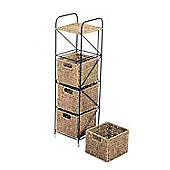 Homcom Seagrass 4 Drawer Tower Storage Unit Baskets Cabinet