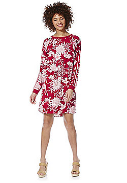 Only Striped Sleeve Floral Dress - Red