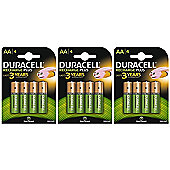 12 X Duracell 1300mAh AA Size Rechargeable Batteries