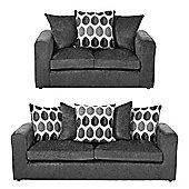 Whitton 2 Seater + 3 Seater Sofa Set, Dark Grey