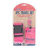 Globetrek Luggage Strap and Tag Set, Pink