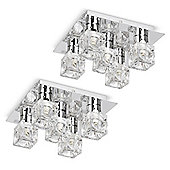 Pair of Ritz Five Way Ice Cube Ceiling Lights, Chrome