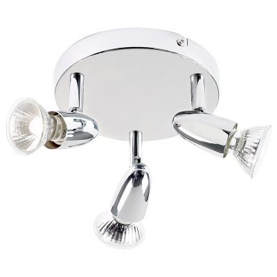 Endon Lighting Halogen Bulb Socket Semi Flush Mount in Chrome