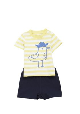 F&F Striped Seagull T-Shirt and Shorts Set Yellow/Navy 0-3 months