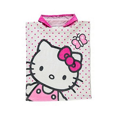Hello Kitty White Hooded Hooded Poncho Towel