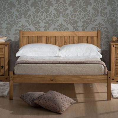 Happy Beds Rio Wood Low Foot End Bed with Memory Foam Mattress - Waxed Pine - 4ft Small Double