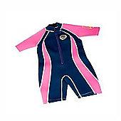 Jakabel Junior Girls Front Zip Shorty Wetsuit Navy/Pink - Pink
