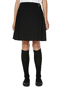 F&F School Buckle Waist Permanent Pleat Skirt - Black