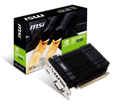 MSI NVIDIA GeForce GT 1030 2GH OC GDDR5 64 Bit Memory PCI Express Graphics Card - Black
