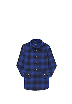 F&F Checked Flannel Long Line Shirt - Blue