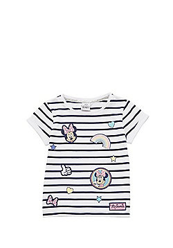 Disney Minnie Mouse Striped Badge T-Shirt - Navy & White