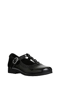 F&F Scuff Resistant Patent T-Bar School Shoes - Black