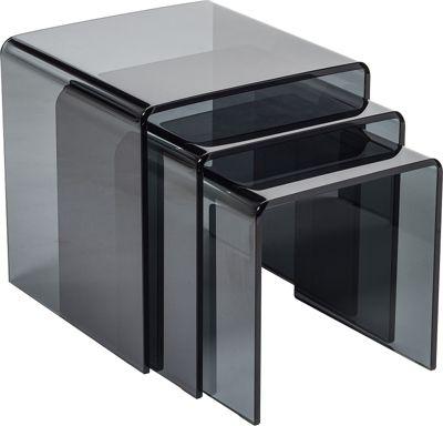 Buy milan bent glass nest of tables smoked from our nest of tables milan bent glass nest of tables smoked watchthetrailerfo