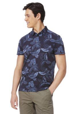 F&F Leaf Print Short Sleeve Polo Shirt Navy M
