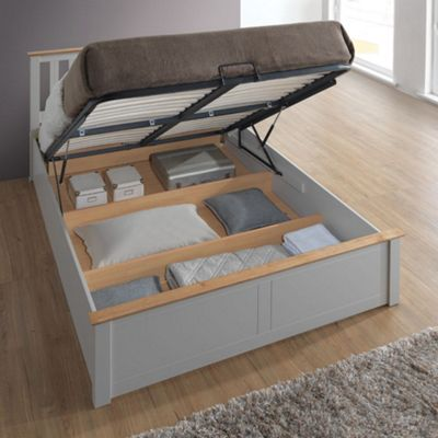 Happy Beds Phoenix Wood Ottoman Storage Bed with Open Coil Spring Mattress - Pearl Grey - 4ft Small Double