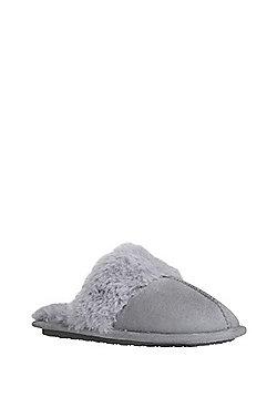 F&F Faux Fur Lined Mule Slippers - Grey