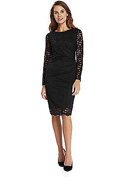 Wallis Ruched Side Lace Shift Dress - Black