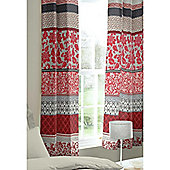 Catherine Lansfield Oriental Birds Eyelet Curtains - Red