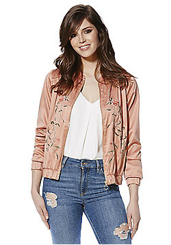 Vila Floral Embroidered Satin Bomber Jacket - Peach
