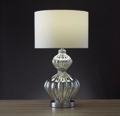 TABLE LAMP - RIBBED AMBER GLASS BASE WITH IVORY DRUM SHADE