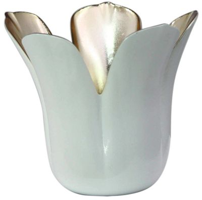 White and Gold Tulip Tealight Holder