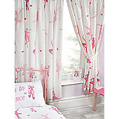Born To Dance Ballerina Lined Curtains - Pink