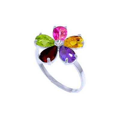 QP Jewellers 2.20ct Gemstone Foliole Ring in 14K White Gold - Size O