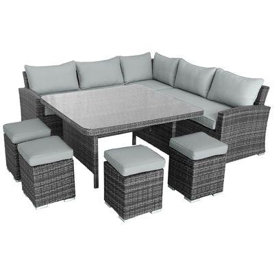 buy maze rattan deluxe kingston corner dining set grey. Black Bedroom Furniture Sets. Home Design Ideas