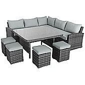 Maze Rattan - Deluxe Kingston Corner Dining Set - Grey