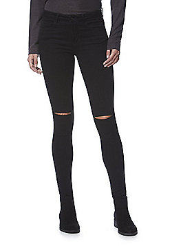 Only Ripped Knee High Performance Stretch Skinny Jeans - Black