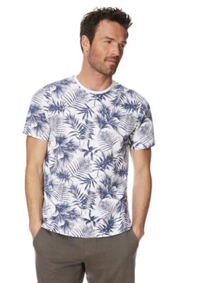 F&F Palm Print T-Shirt Blue 2XL