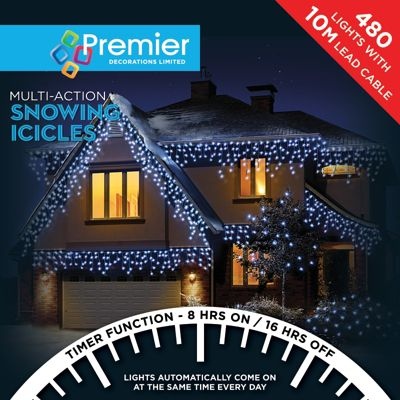 Premier 480 Multi Action Snowing Icicles LED Lights with Timer - White