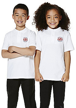 Unisex Embroidered School Polo Shirt - White