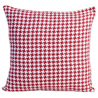 Homescapes Houndstooth 100% Cotton Cushion Cover Red, 60 x 60 cm