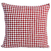 Homescapes Houndstooth 100% Cotton Scatter Cushion Red, 60 x 60 cm