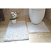 Rapport 2 Piece Bath Mat Set - White