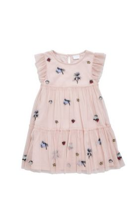 F&F Embroidered Tulle Mesh Dress Pink 12-18 months
