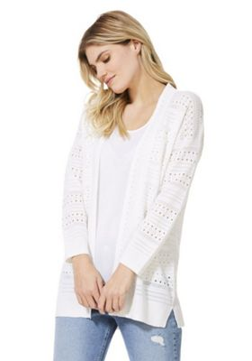 F&F Pointelle Long Line Cardigan White 22