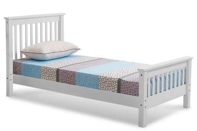 Adlington White Wooden Shaker Style Single Bed Frame
