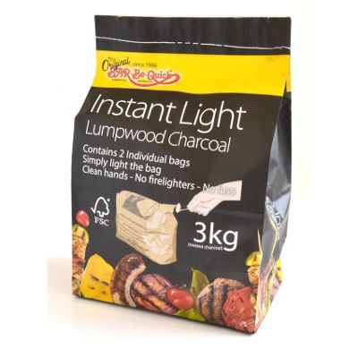 Bar-Be-Quick 3kg FSC Instant Lighting Charcoal (2 x 1.5kg)