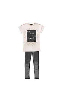 F&F Run Dance Twirl Slogan T-Shirt and Leggings Set - Pink & Black