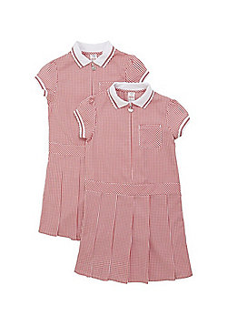 F&F School 2 Pack of Plus Fit Permanent Pleat Gingham Dresses - Red & White