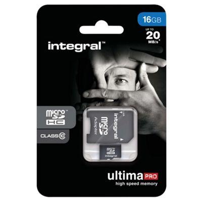 Integral microSDHC 16GB Class 10 Card + SD Adapter
