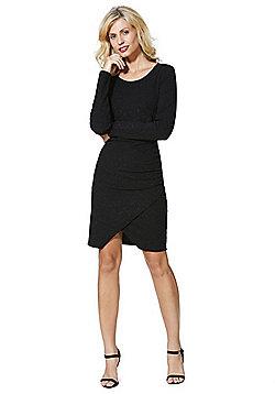 Vero Moda Glitter Wrap Effect Bodycon Dress - Black
