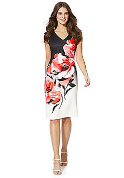 Roman Originals Contrast Floral Scuba Sleeveless Pencil Dress - Black & Red
