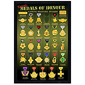 Medals of Honour Black Wooden Framed Gaming Bravery Awards Poster