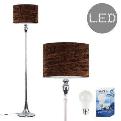 Faulkner 125cm Spindle LED Floor Lamp - Chrome & Brown Velvet